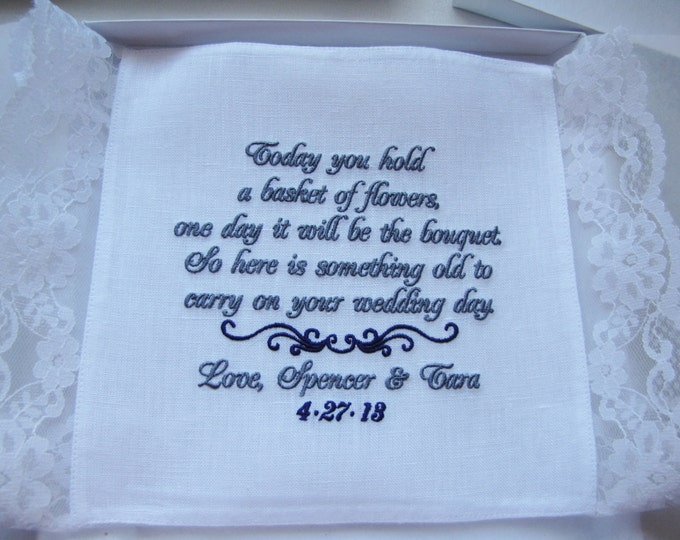 Flower girl personalized handkerchief, wedding hanky, hankie gift personalized wedding