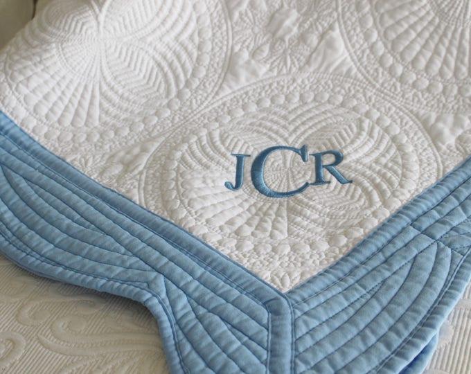 Monogrammed Baby/Baby Quilt/Newborn Gift/Embroidered/Newborn Boy/Personalized Gift/Custom Baby Gift/Blue Baby Blanket/Birthday Gift/Keepsake