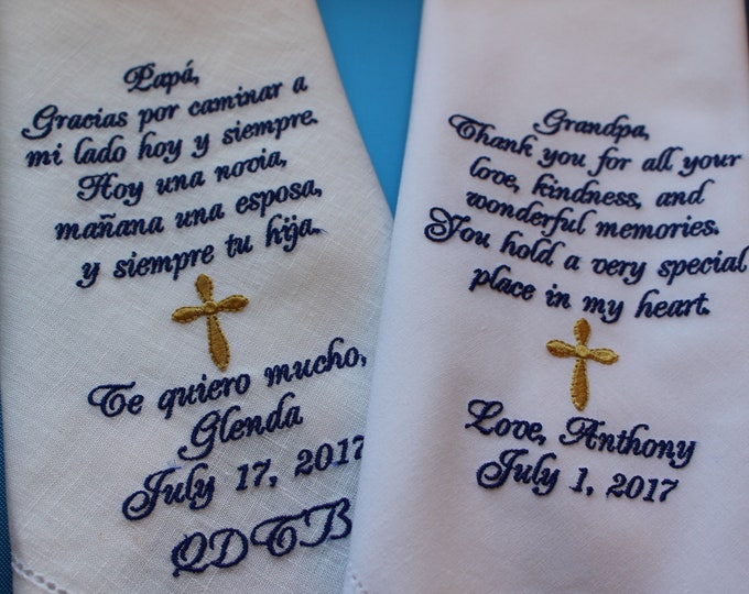 Set of Two Father and Grandfather Wedding Handkerchief Gifts from Bride or Groom