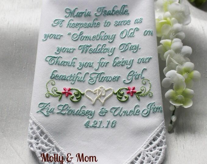 Flower girl gift personalized wedding hankie, flower girl handkerchief, embroidered wedding handkerchief