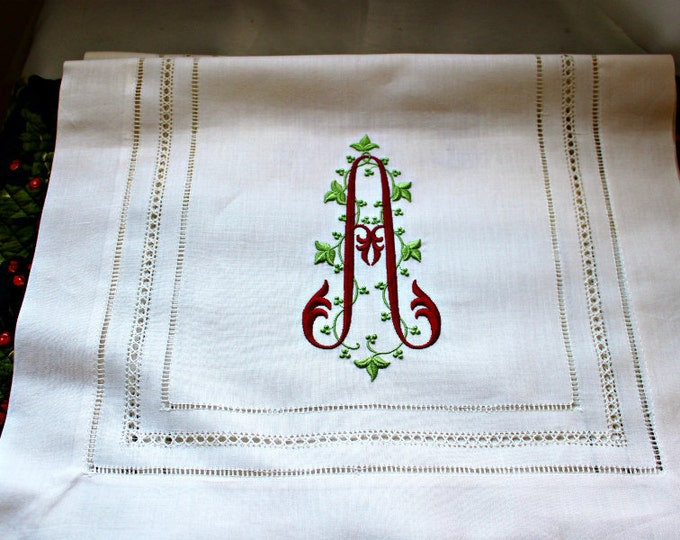 Custom Monogrammed Linen Table Runner for Head Table, Cake Table, Dining Room, Embroidered Table Cover, Wedding Table Decor, Bride gift