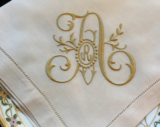 Monogrammed Linen  Dinner Napkins or Table Runner, FAMILY TREE monogram, Wedding Napkin, Head Table Decor, Bridal Luncheon, Cake Table Decor