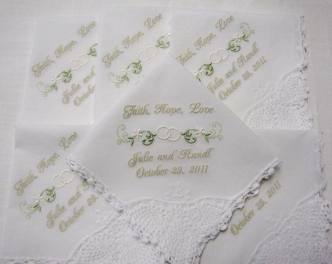 Set of SIX  Personalized Wedding Handkerchiefs-, Mother of the Bride, Bride, Groom, Father of the Bride, Wedding Party Gifts, Embroidered