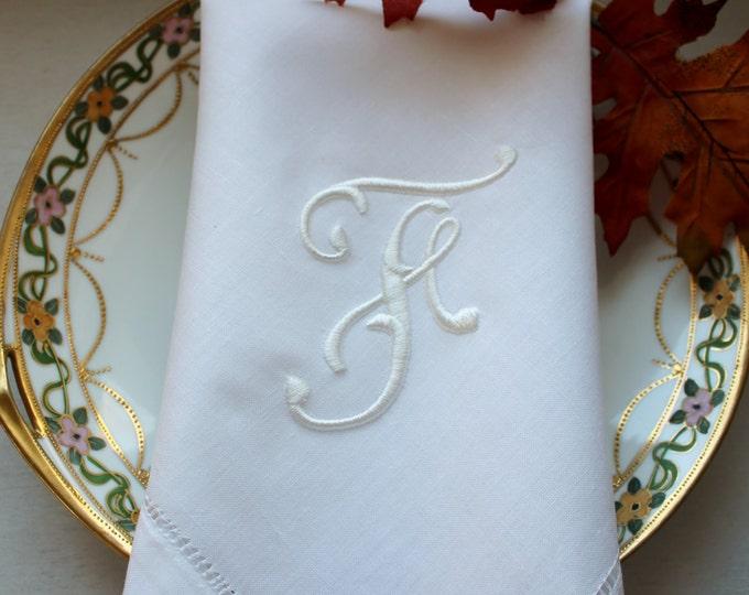 Set of Eight or Twelve Custom Monogrammed Dinner  Napkins, Wedding Napkins, Bridal Shower, Bridal Luncheon