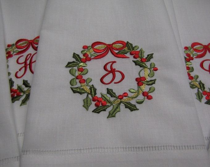 Monogrammed Christmas Wreath Linen Guest or Tea Towel