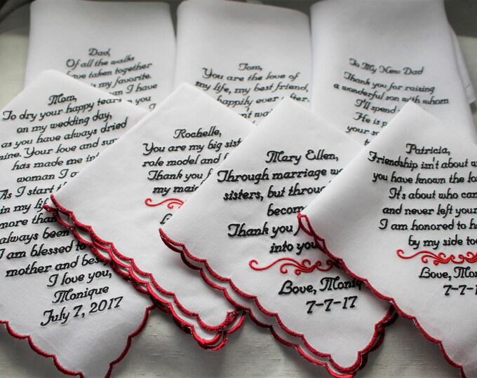 Set of 7 Custom Wedding Handkerchief Gifts/Mother of the Bride/Bride/Mother of the Groom/Parent Gifts/Wedding Hankies/Wedding Handkerchief