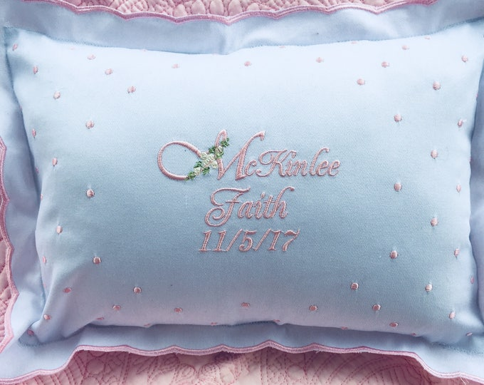 Personalized Embroidered Baby Pillow