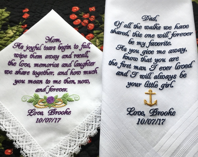 Mother of the Bride and Father of the Bride Wedding Handkerchiefs Personalized, Embroidered Wedding Handkerchiefs, Hankies, Hankys