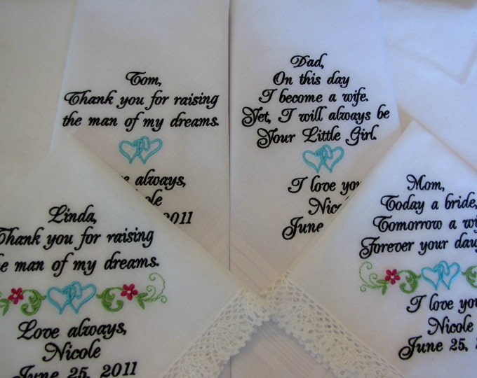 Four Ivory or White Personalized Wedding Handkerchiefs for Parents of Bride and Groom