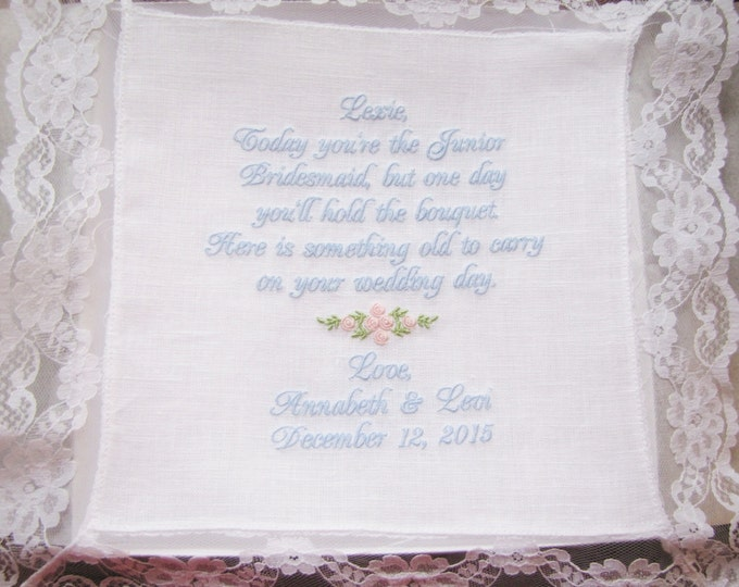 Personalized Junior Bridesmaid wedding handkerchief Gift, Embroidered Handkerchief, Bride, Wedding Party Gifts, Custom Wedding Hankies