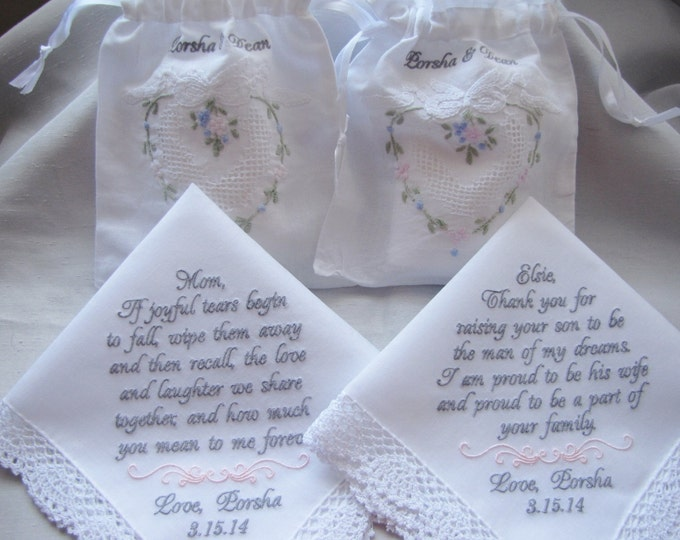 Two Custom Personalized Wedding Handkerchiefs w Coordinating Tissue Pouches and Gift Boxes/Mother of the Bride Gift/Mother of the Groom Gift