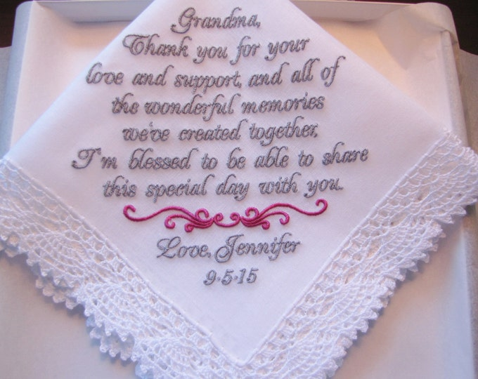 Grandmother Wedding Handkerchief, Grandmother Gift, Embroidered Handkerchief, Wedding Party Gifts, Personalized Wedding Handkerchief, Custom