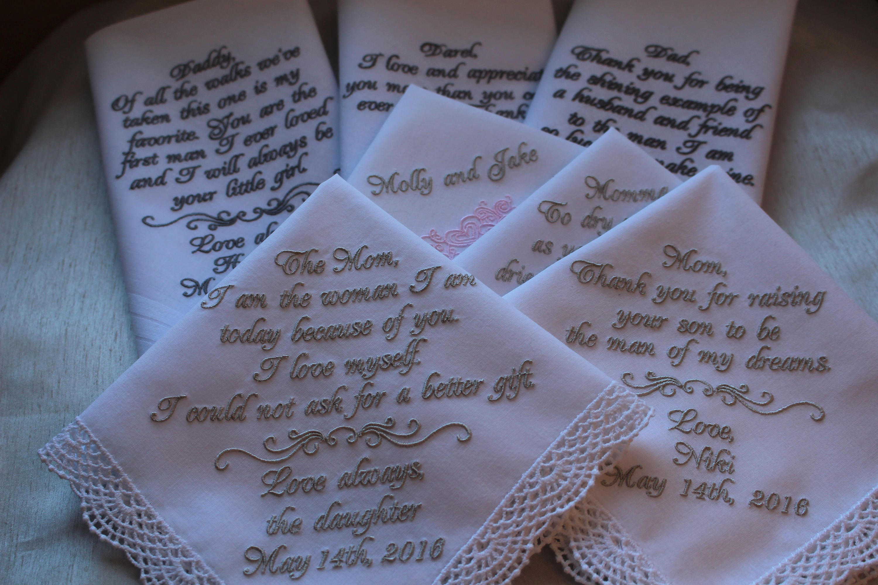 Embroidered Wedding Handkerchief Gift Sevenmother Of The Bride