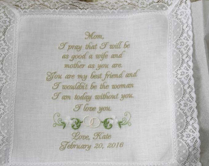 Mother of the Bride Wedding Gift Handkerchief,  Linen Embroiderered Wedding Handkerchief