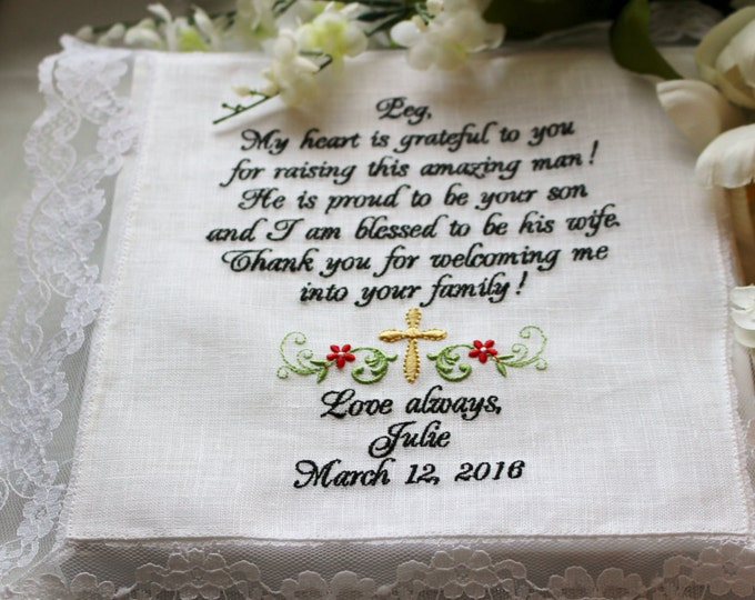 Mother of the Groom Personalized Wedding Handkerchief, Bridal Hankies, Wedding Hankys