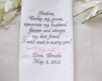 Personalized Wedding Handkerchief Gift from Bride to Groom, Custom Embroidered Men's Handkerchief, Keepsake Wedding Hanky, Gifts for Men