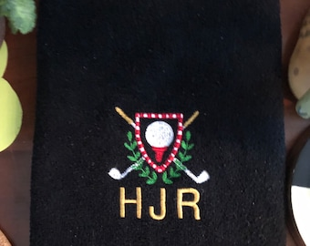 Personalized Golf Towel, Golf Towel for Dad, Golf Gift, Father's Day, Groomsman Gift, Quick Shipping