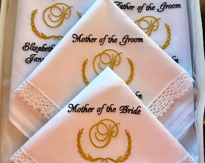 Personalized Monogrammed Wedding Handkerchiefs Parent Gifts, Embroidered wedding handkerchiefs, custom handkerchiefs, equestrian