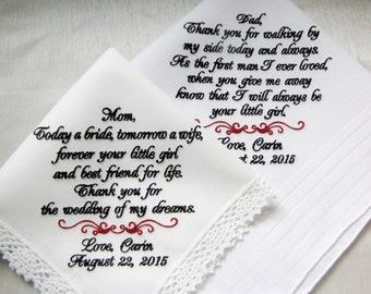 Wedding Handkerchiefs Personalized for Mother of the Bride and Father of the Bride, Embroidered Wedding Handkerchiefs, Hankies, Hankys