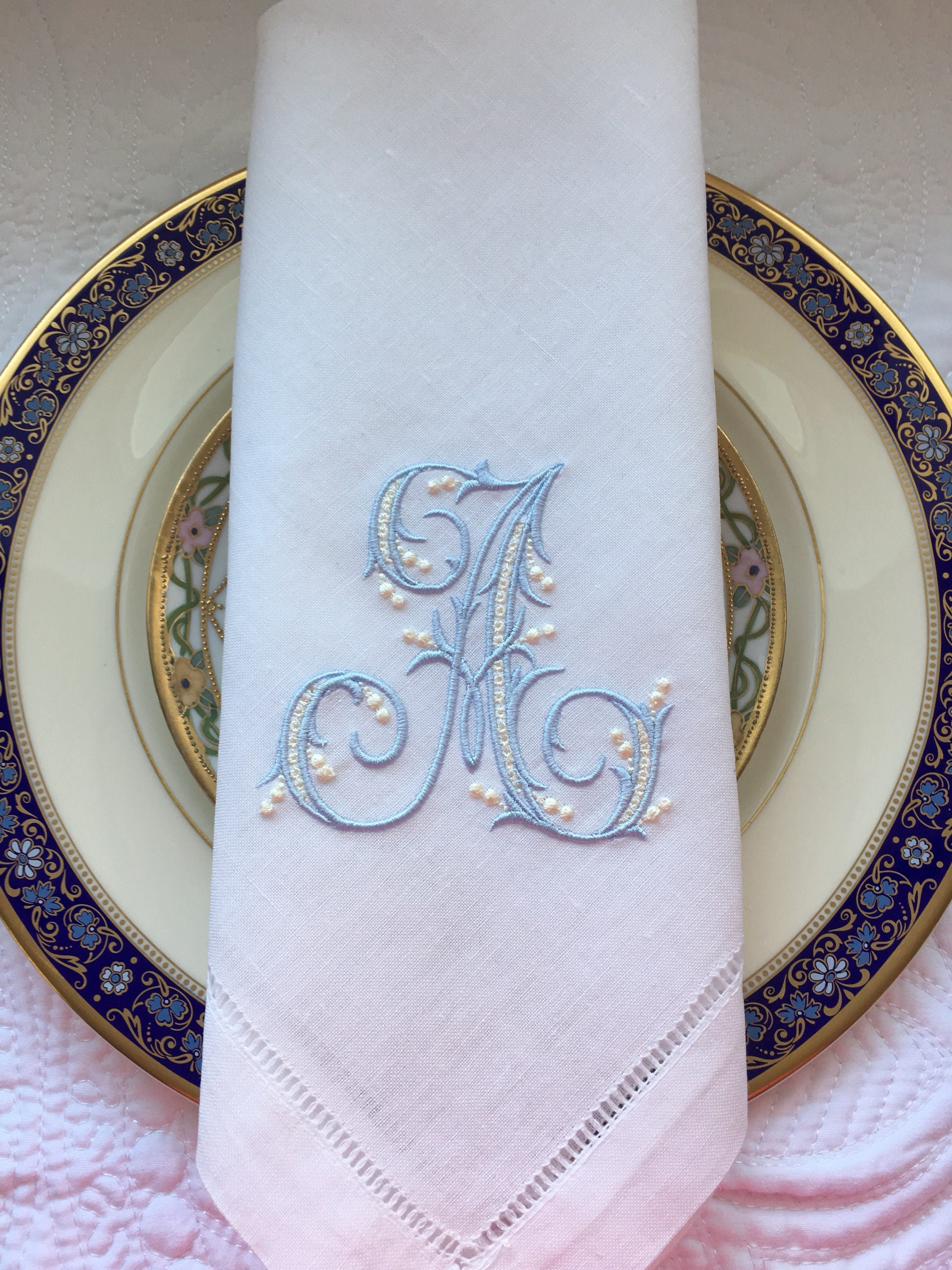 monogrammed linen dinner napkins classic antique style custom