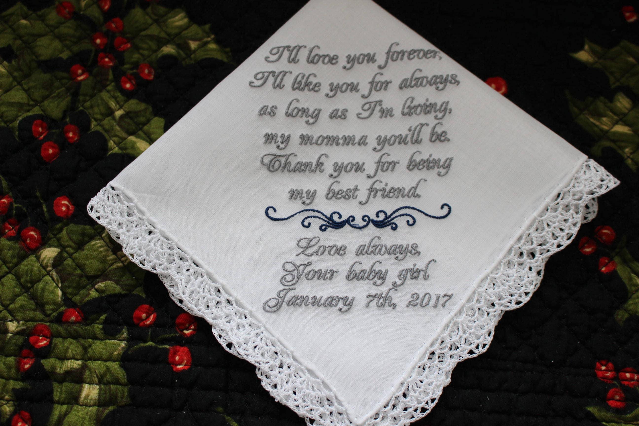 Wedding Handkerchief, Mother of the Bride Gift, Parents Wedding Gift ...