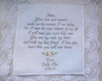 Mother of the Bride Handkerchief Gift Linen Wedding Handkerchief, embroidered wedding Hankies, Custom Personalized Wedding Handkerchief,