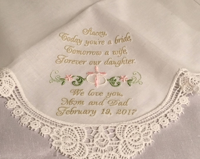 Wedding Gift Bride From Parents, Wedding Handkerchief, Embroidered Handkerchief, Parents to Bride, Wedding Hankies, Something Blue, Bride