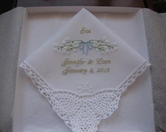 Sweet Flower girl gift personalized wedding hankie with baby's breath, flower girl handkerchief, embroidered wedding handkerchief