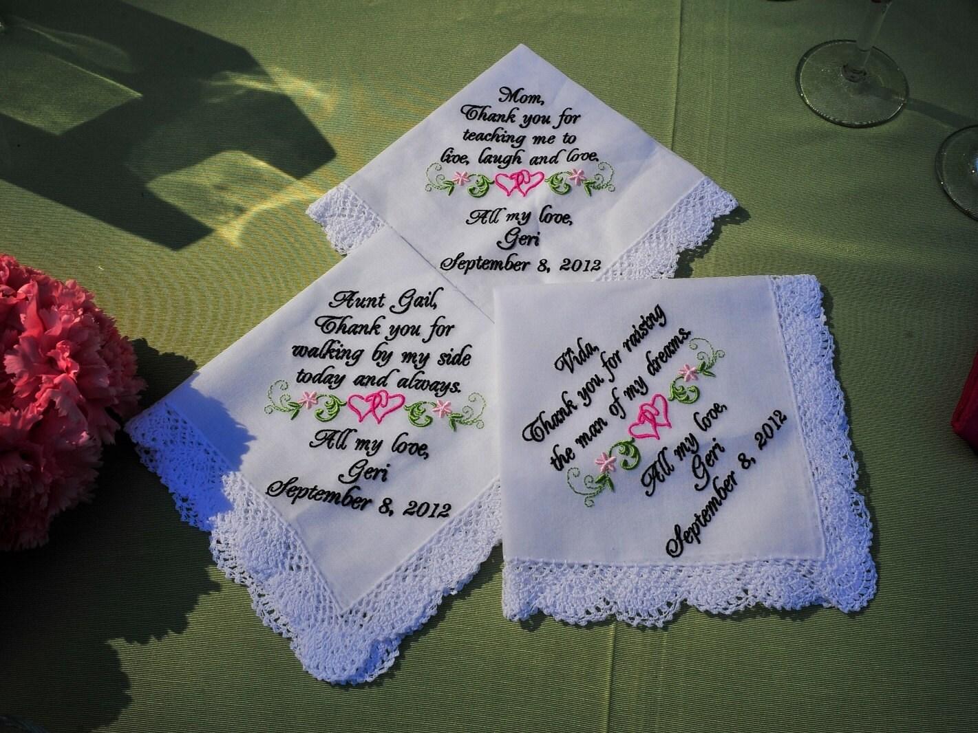 Custom Personalized Embroidery Of Three Wedding Handkerchiefs