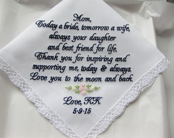 Custom Embroidered Mother Wedding Handkerchief Gift From Bride , Custom Wedding Handkerchiefs, Accessories, Gifts for mom, Wedding Hanky