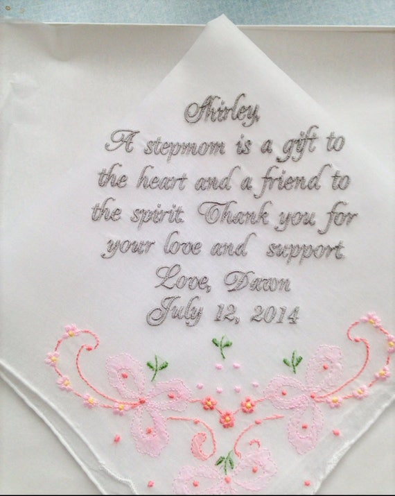 9a039ddd7f5a4a Personalized Gift from Bride to Step Mother. Embroidered