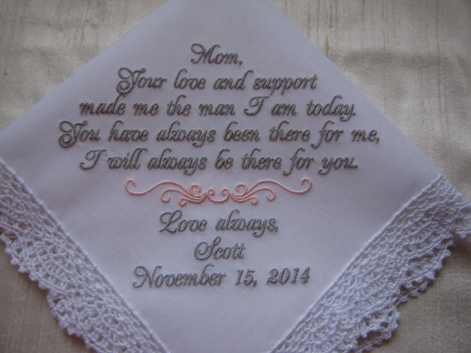 personalized wedding handkerchief mother of groom gift from son