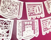 NEW CLASSICS variety wedding papel picado banners - personalized, custom color - 4 designs