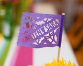 Papel picado personalized centerpiece flags - TWILIGHT - featured in Brides