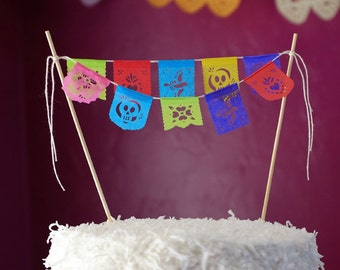 Fiesta cake topper - mini papel picado garland - Ready to ship