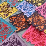 LAS MONARCHAS - bright mixed colors - Dia de los Muertos papel picado - Ready made