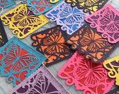 LAS MONARCHAS - bright mixed colors - Dia de los Muertos papel picado - Ready made