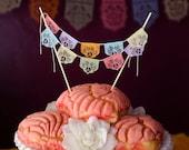 Papel picado fiesta cake topper - sets of 2 - LAS FLORES - party decoration