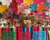 Fiesta dessert table decorations - AMOR papel picado banners - custom color