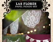 Set - LAS FLORES papel picado - Save 10% - custom banners and cake topper