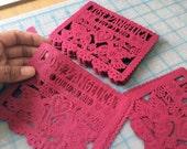 Mexican wedding invitation inserts - Personalized, custom color - DOS PALOMITAS papel picado embellishment