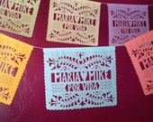 SANTA CRUZ Papel Picado - Sets of 2 banners - personalized wedding decorations