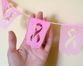 PINK RIBBON papel picado banner Breast Cancer Awareness - set of 2 - Ready Made