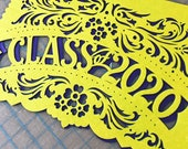 Graduation party decorations - CLASS OF 2020, 2019 papel picado - order in your custom school colors
