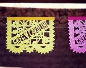 Wedding Papel Picado - Sets of 2 banners - LOS NOVIOS - personalized, custom color