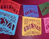 FIESTA - custom color papel picado banner - Cinco de Mayo, party decoration