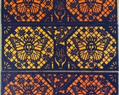 MUERTO MONARCA papel picado panels - Dia de Los Muertos - Day of the Dead - for altars, ofrendas, table runners -  Ready made