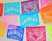 FIESTA FILETEADO - sets of 2 - papel picado banners - Cinco de Mayo - birthday party decorations - custom colors