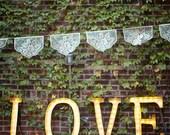 Fine papel picado - LAS FLORES custom color wedding decor, banners, garland