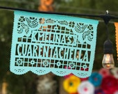 Any Occasion - FLORECITAS papel picado - sets of 2 personalized banners